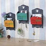 UR Home Decor Zakka Vintage Wood Mail Letter Organizer Holders Hanging Key Rack Wall Decor Storage Furnishing (1 pc)