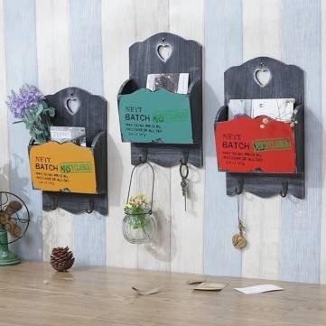 UR Home Decor Zakka Vintage Wood Mail Letter Organizer Holders Hanging Key Rack Wall Decor Storage Furnishing (1 pc) by Ialwiyo