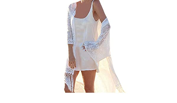 Amazon.com : Clearance!HOSOME Women Top Womens Autumn Spring Women Lace Shawl Kimono Cardigan Cover Up Beach Beachwear Long Tassel Smock : Grocery ...