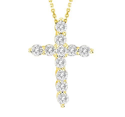 14kt Yellow Gold Diamond Cross Pendant 0.50ct TW with Chain ()