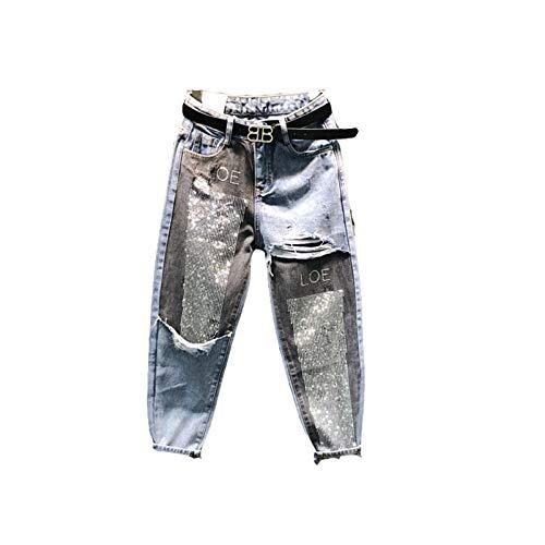 Spring Autumn Harem Pants Women High Waist Spliced Diamonds Ankle Length Jeans