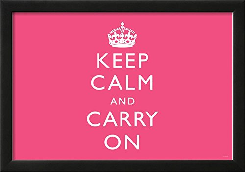 Keep Calm and Carry On Motivational, Pink, Horizontal Art Poster Print Framed