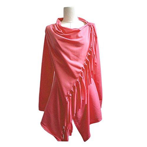 Rojo dobladillo Vin abrigada Mujer Borlas Una de suelto beauty suéter Chaqueta Poncho punto Melon Abrigo chaqueta tZZqOUgrxn
