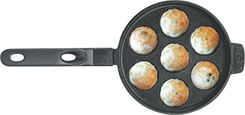 Nirali 7 inch 7 holes Appe / paniyaram / mini aebleskiver (danish pancake pan) / mini vitumbuas pan with Teflon classic coating & long handle for support