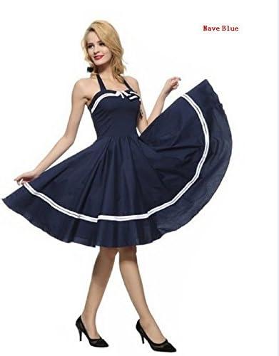 Sailor Dresses, Nautical Theme Dress, WW2 Dresses Retro Sailor Dress - S-3XL Womens 1950s Halter Vintage Rockabilly Dress Pinup Retro Sailor Cocktail Dress $28.97 AT vintagedancer.com