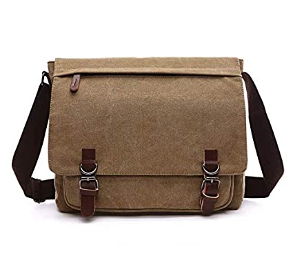 Canvas Laptop Messenger Bag Travel School Bookbag for 11 6