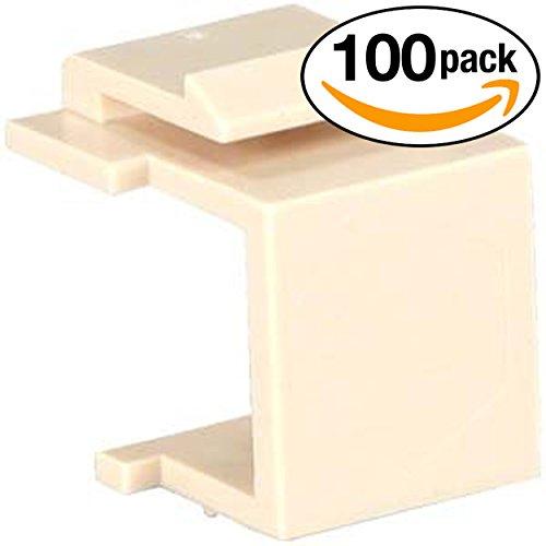 InstallerParts (100 Pack) Snap-in Keystone Wallplate Blank Insert Ivory ()