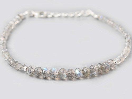 Handmade Beaded Gemstone Jewelry (Labradorite Beads Bracelet with 925 Sterling Silver findings 6.50