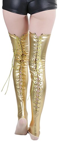 ToBeInStyle Women's Lace Up Wet Look Thigh Hi - Gold ()