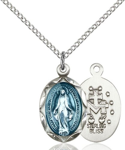Heartland Store Women's Oval Blue Enamel Miraculous Medal with 18