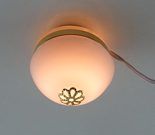 Melody Jane Dolls House Round Flush Ceiling Light 12V Lamp Miniature Electric Lighting