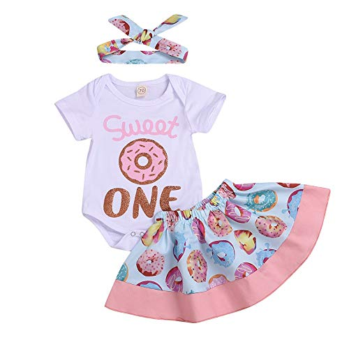 Baby Girls Skirt Set ONE Letter Romper + Doughnuts Print Skirt +Headband Summer 1st Birthday Outfit (100/Fit 18-24 Months, White and - One Girls Kid Sets