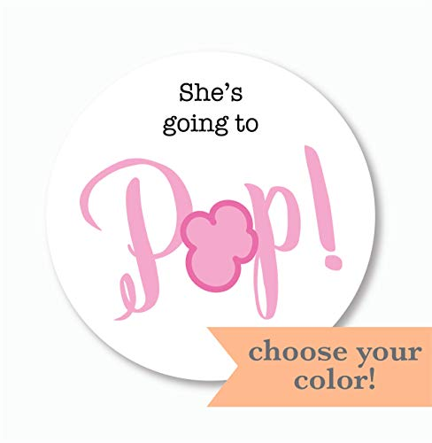 (40ct, Going to Pop Stickers, Baby Shower Popcorn Stickers, 2 inches (368-3-PP))