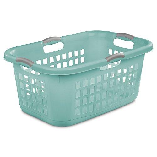 STERILITE 12167906, 2 Bushel 71 L Ultra Laundry Basket, Aqua Chrome with Titanium Handles, 6 Pack - Ultra Laundry Basket