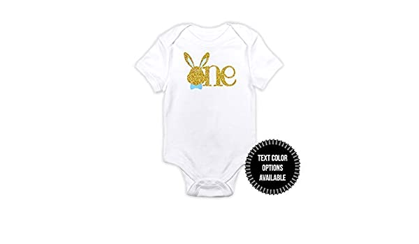 1 pc one bunny head bow tie boy 100/% COTTON short sleeve babysuit bodysuit for first birthday boy spring easter champagne gold black glitter