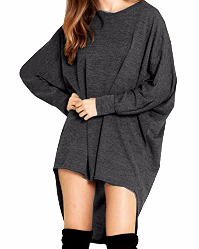 ZANZEA Mujer Suéter Jersey Blusa Camiseta Asimétrica Mangas Largas Casual Elegante Oficina Algodón varios_colores
