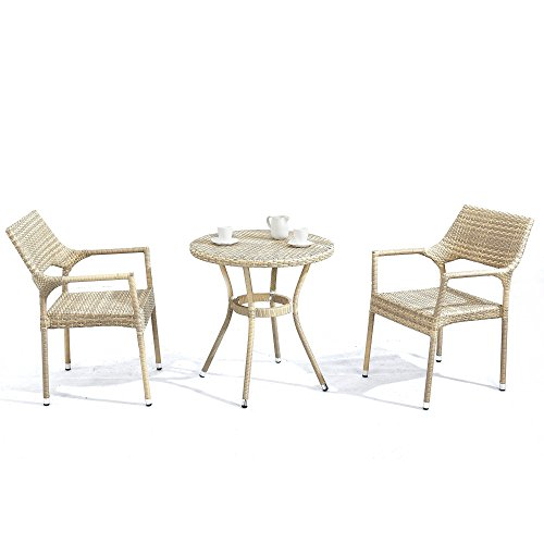 Southwestern Patio Furniture - D+ Garden 3-Piece Bistro Table Set with All Weather Modern Resin Wicker, Aluminum Frame PE Rattan, for Small Garden Kitchen Patio Balcony Pub Breakfast Nook & Poolside, Orange Grey