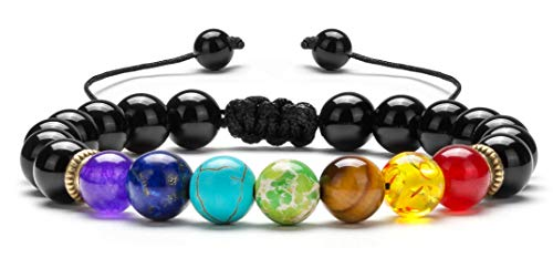 Hamoery Men Women 8mm Lava Rock 7 Chakras Beads Bracelet Braided Rope Natural Stone Yoga Bracelet Bangle (Black Agate)