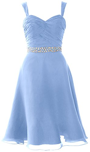 MACloth Elegant Straps Chiffon Cocktail Dress Short Wedding Party Formal Gown Cielo azul