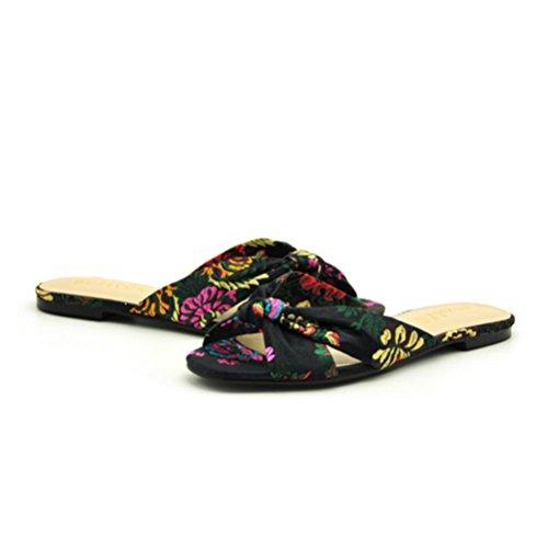 personalizadas Zapatillas para Cómodas zapatillas punta Sandalias black tela Flores XIE Chanclas abierta Femeninas de antideslizantes con mujer B06qA