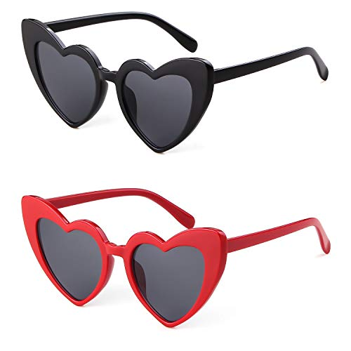 Clout Goggle Heart Sunglasses Vintage Cat Eye Mod Style Retro Kurt Cobain Glasses (Black&Red(2 packs))