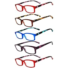 Readers 5 Pack of Elegant Womens Reading Glasses with Beautiful Patterns for Ladies Deluxe Spring Hinge Stylish Look 180 Day Guarantee