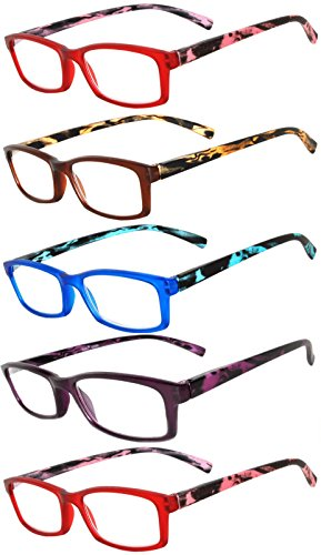 Readers 5 Pack of Elegant Womens Reading Glasses with Beautiful Patterns for Ladies Deluxe Spring Hinge Stylish Look 180 Day Guarantee +1.5