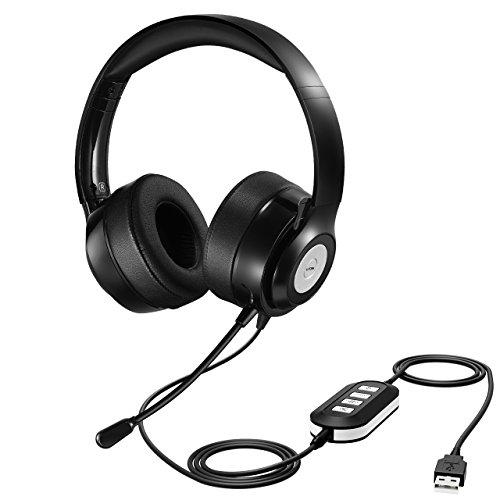 Vtin Headset with Microphone, 3.5mm/USB Headset Noise Cancelling and Hands-Free with Mic Stereo On-Ear Headphones for Skype, PC, Cell Phone
