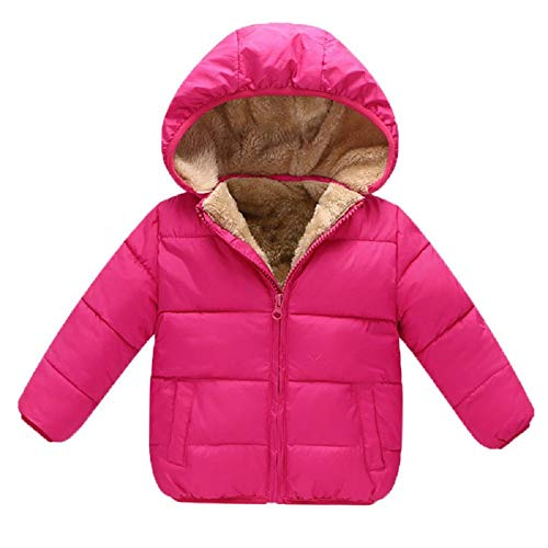 Goodkids Baby Girls Boys' Winter Fleece Jackets with Hooded Toddler Cotton Dress Warm Lined Coat Outer Clothing(Rose 120) ()