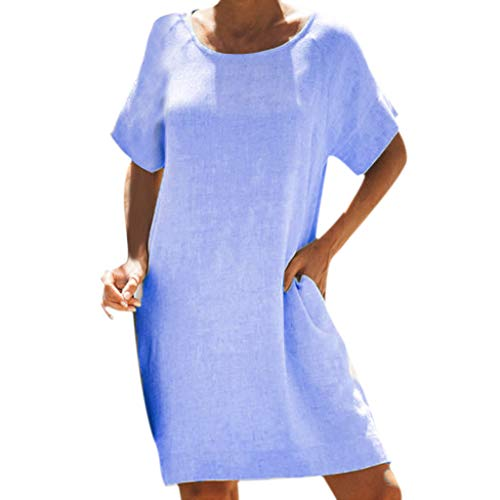 - Women's Short Sleeve Cotton and Linen Casual T-Shirt Dress Round Neck A-Line Top Loose Simple Dress Blue