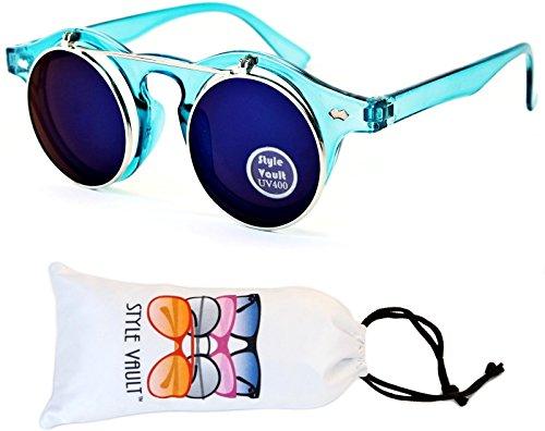 W83-vp Style Vault Flip up or Detachable Steampunk Sunglasses (M3199A Crystal Blue/Silver-Blue Mirror, - Weird Sunglasses
