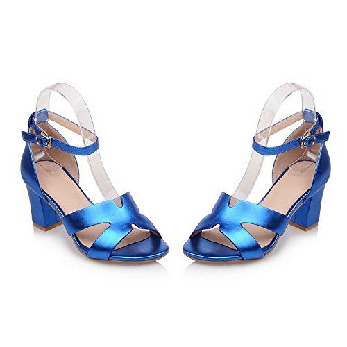 AgooLar Mujeres Tacón ancho Material Suave Sólido Hebilla Puntera Abierta Sandalia Azul