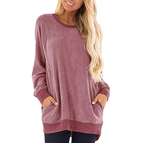 Women Casual Color Block Long Sleeve O-Neck Pockets