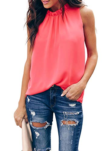 AlvaQ Women Summer Casual High Neck Chiffon Sleeveless Tank Tops Fashion Blouses Plus Size Red 1X