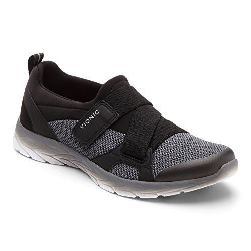 Vionic Brisk Dash Z Strap Sneaker, Black Charcoal, Size 11 Wide