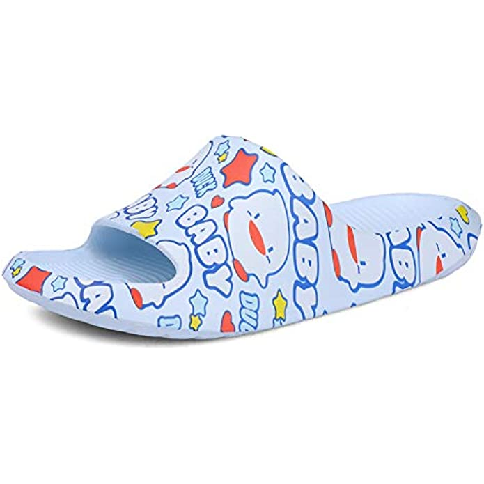 Slippers for Boys and Girls Shower Quick Drying Bathroom Sandals Open Toe Soft Cushioned Non-Slip Pool Gym House Shoes for Indoor & Outdoor