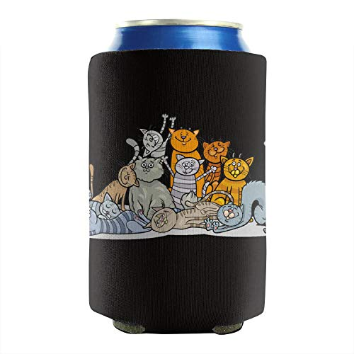 (Fat Cat Charm Art 12-16 OZ Bottles Premium Neoprene Beer Can Sleeves Drink Coolers Cans Cooler Sleeve Non-Slip Durable Collapsible Insulated Pack Of 2 Plain Design)