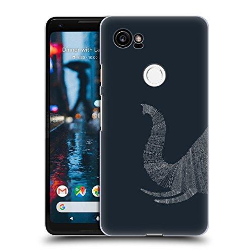 Official Florent Bodart Elephant Blue Animal Lines Hard Back Case for Google Pixel 2 XL from Head Case Designs