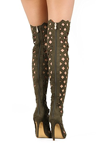 Thigh high Suede Boots Lace up Geometric Heels Open toe Women/'s shoes Florella