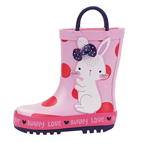KomForme Kids Rain Boots Waterproof Rubber Boots for Girls and Boys with Easy-on Loops and Printed Animal Design