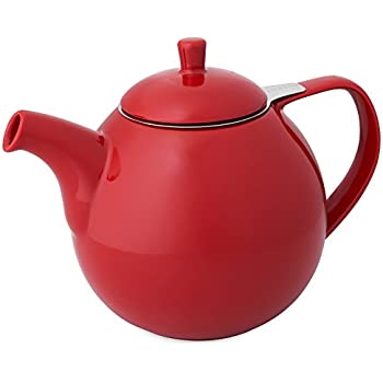 FORLIFE Curve Teapot with Infuser, 45-Ounce, Red
