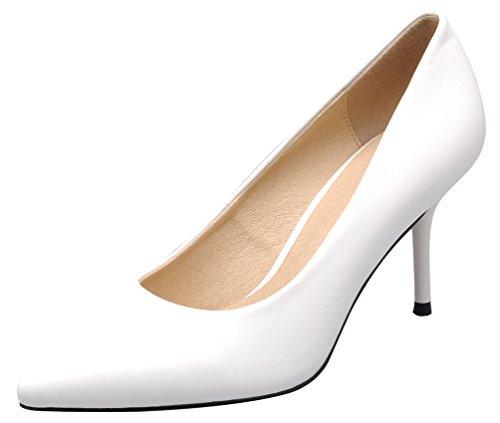 Salabobo 1045 ladies OL Comfort Work Wedding Job Pointed Toe Stiletto Cone Heeled Sheepskin Pumps White TNXHiC