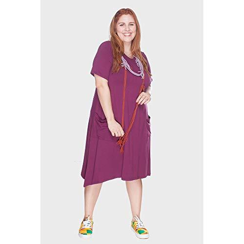 Vestido Evasê Com Bolsos Plus Size Fúcsia-54/56