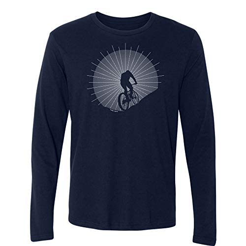 (Indigo Legend Mountain Bike T Shirt for Men, Conquering The Hill, Birthday (Navy Long-Sleeves, XL))