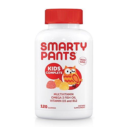 SmartyPants Kids Complete Gummy Vitamins: Multivitamin & Omega 3 Fish Oil (DHA/EPA Fatty Acids), Vitamin D3, Methyl B12, 120 Count, 30 DAY SUPPLY