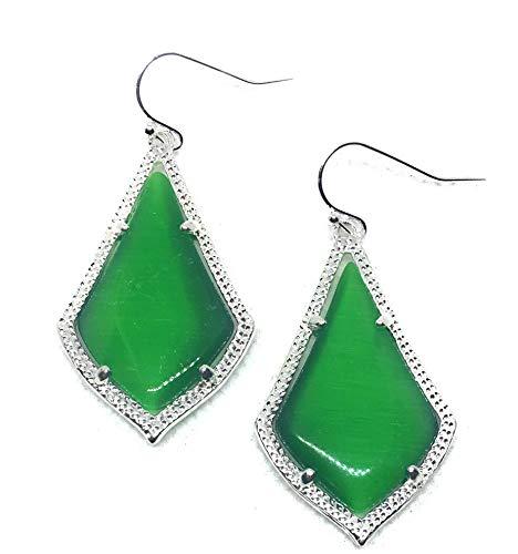 Inspired Fashion Jewelry New Cat Eye Earrings in Emerald Green in Silver Tone