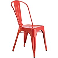 Mod Made Mid Century Industrial Tolic Metal Chair, Red