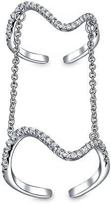 Bling Jewelry Rhodium Plated Cubic Zirconia Full Finger Knuckle Chain Ring