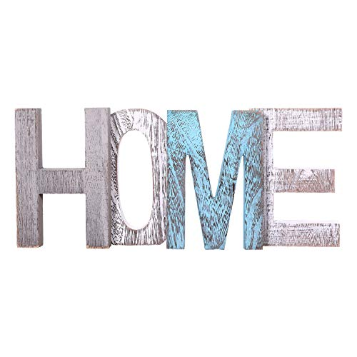 "Comfify ""Home"" Decorative Wooden Letters – Large Wood Letters for Wall Décor in Rustic Blue, White and Grey – Rustic Home Decoration for Living Room - Rustic Home Décor Accents – Farmhouse Decor"
