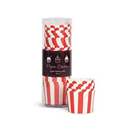 Paper Eskimo Baking Cups with Red Stripes, 25-Pack